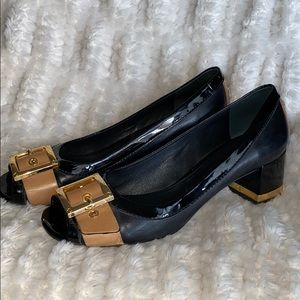 Tory Burch heels Black and Tan w/ gold